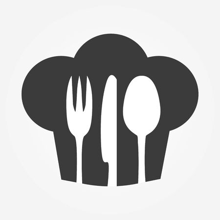 Chef icon. Chef hat silhouette with cutlery inside. Banque d'images