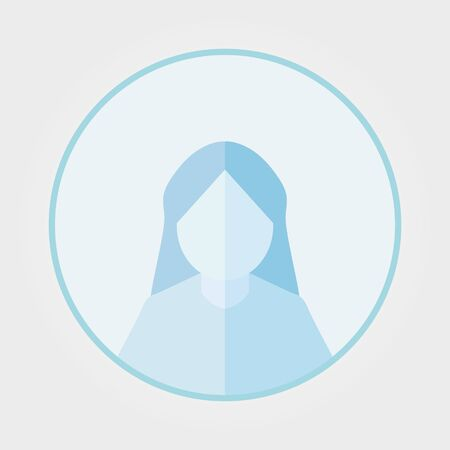 women face avatars, women silhouette heads in profile icon on blue background. Flat style vector illustration isolated on white. Vetores