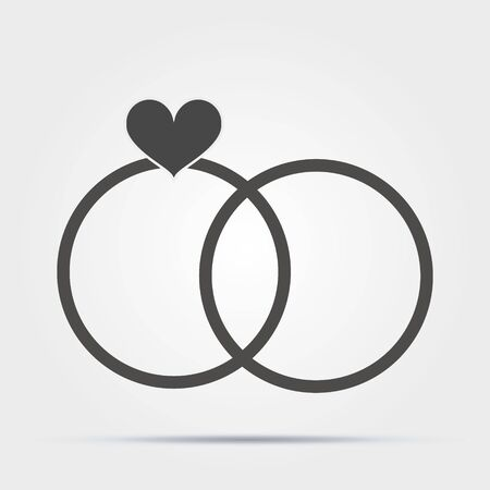 wedding rings with a heart icon. Valentines Day elements. Premium quality graphic design icon. Simple love icon for websites, web design, mobile app, info graphics on white background Иллюстрация