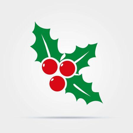 Kerstmaretak met bladeren en bessen plat vectorkleurenpictogram voor vakantie-apps en websites. Vector Illustratie