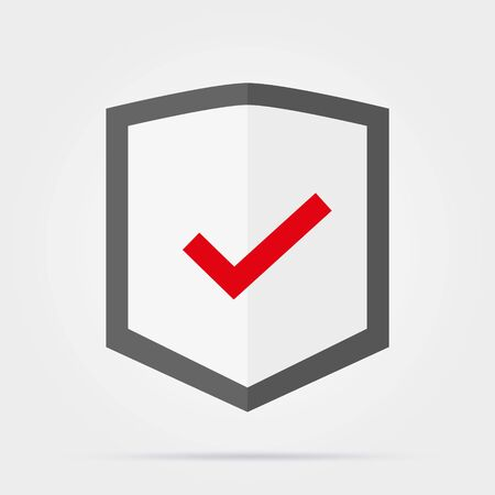 Shield with check mark line icon for web, mobile and infographics. Vector dark grey icon isolated on light grey background