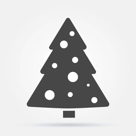 Christmas tree icon, vector simple design. Black symbol , isolated on white background.