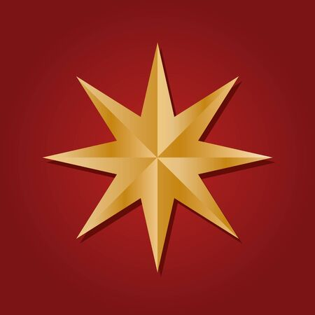 Icon of faceted golden star. Realistic three-dimensional six pointed hexagon isolated on red background. Decorative design element,