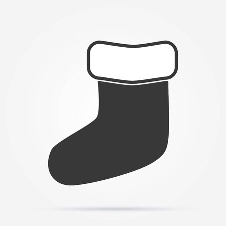 Vector Single Black Silhouette Icon - Christmas Sock