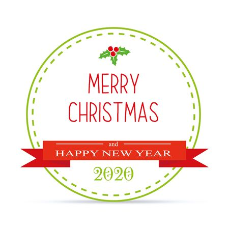 Merry Christmas and Happy New Year banner, vector illustration with number 2020 and red ribbon.