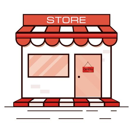 Red shop icon , storefront. Vector illustration