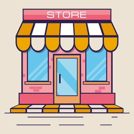 Pink store icon. Shop icon. Flat design. Vector illustration