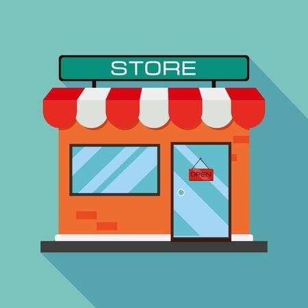 icona del negozio arancione. Icona del negozio con ombra piatta su sfondo blu. Design piatto. Illustrazione vettoriale