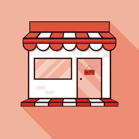 Red shop icon, showcase. Vector illustration with shadow.Store sign illustration. Red icon with flat style shadow path.