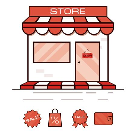 Red shop icon, showcase. Vector illustration. With sale stickers. Иллюстрация