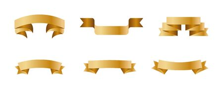 Ribbon set gold color on white background. Christmas sticker. Vector icon Иллюстрация