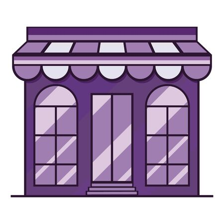 Purple store icon, showcase, building. Vector illustration
