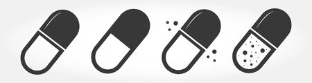 Pills Icon in flat style isolated on white background. Vectores