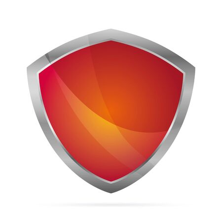 Red metallic shield. Vector illustration. Eps 10. Иллюстрация