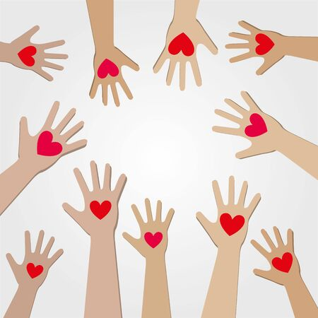 World Kindness Day. volunteer.Hands with hearts. Silhouette of the humans hands with icons of hearts