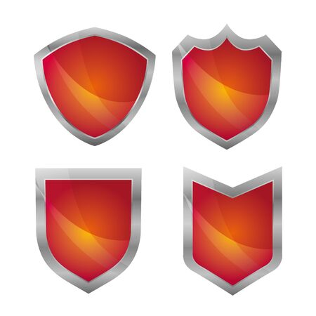 Red label and badges with silver border on white background.