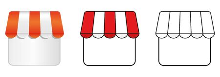 Storefront shop glass case icon. Vector illustration