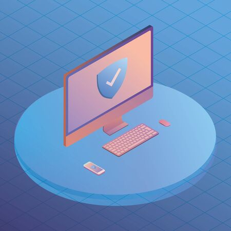 Computer data protection, monitor with shield, data security icon isometric vector Иллюстрация