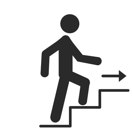 A man goes up the stairs with an arrow, growth of business concept and the path to success, icon design vector illustration isolated on white background.