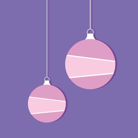 Purple christmas ball flat style. Vector illustration.