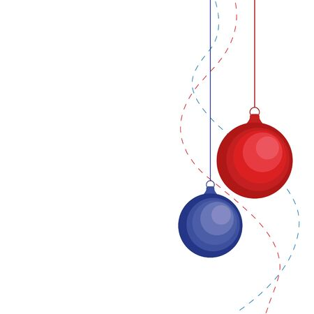 christmas ornament hanging red isolated background vector illustration.