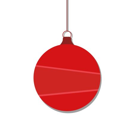 Red Christmas ball, isolated on white background. Vector illustration