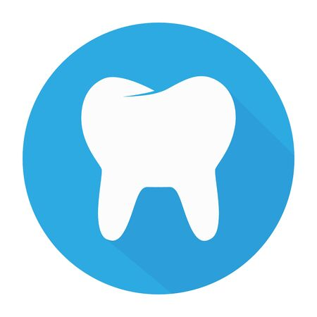 White Tooth icon in flat design with long shadow. Vector illustration. Simple Tooth icon on blue round button