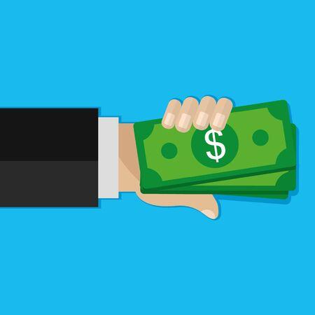 Hand holding money. Dollars, cash, money exchange concepts. Modern flat design vector illustration.