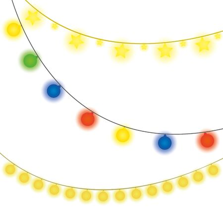 Christmas lights, vector illustration isolated on white background Иллюстрация