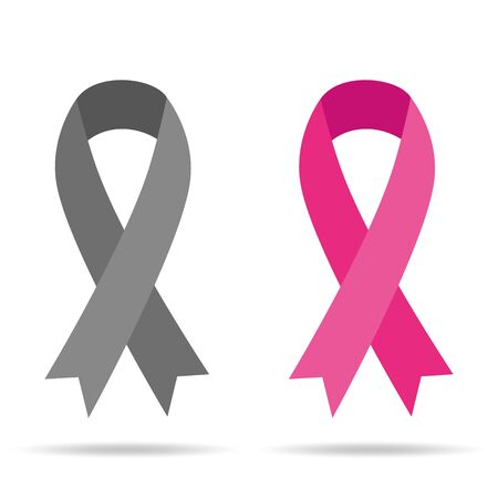 Pink Ribbons Set - Symbols of Breast Cancer Awareness Month isolated on white background.Vector illustration.