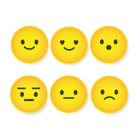 Set of cute smiley emoticons, emoji flat design, vector illustration