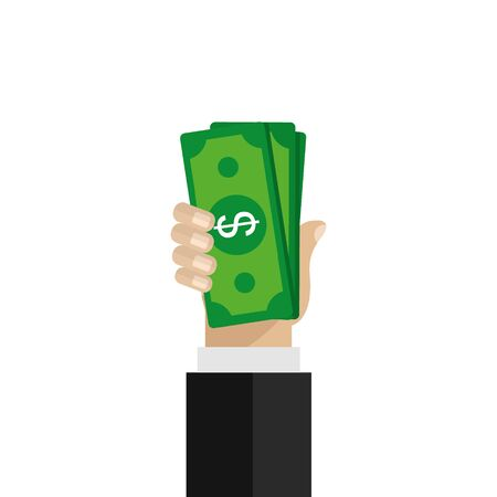 Hand holding green money banknotes. Vector flat design illustration.