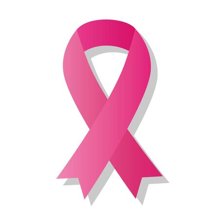 Cancer awareness pink ribbon isolated on white background.