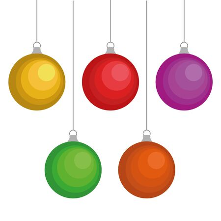Set of christmas balls on a white background. Vector illustration.