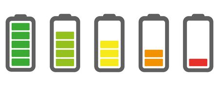 Vector battery icon. Charge from high to low