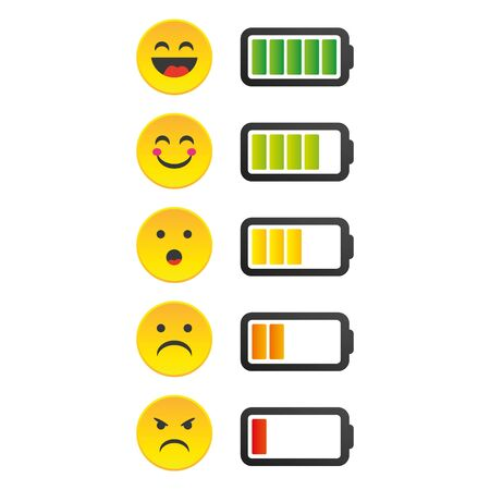 Battery charge indicator icons in vector graphics.Emotion Battery Status Indicator.