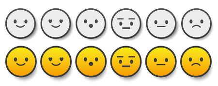 Set of cute smiley emoticons, emoji flat design, vector illustration