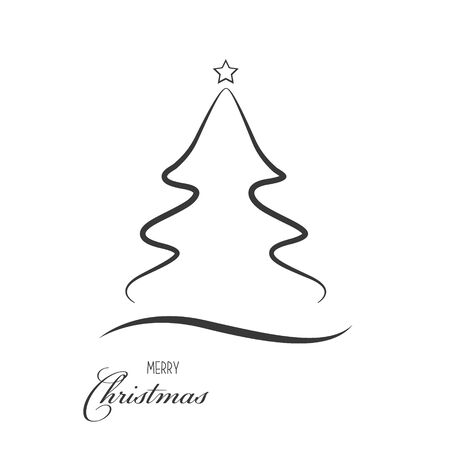 Christmas tree icon on a white background. Simple line style design. Vector illustration eps 10