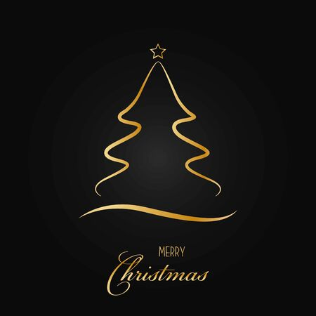 Silhouette of a Christmas tree with a star on a black background. Gold glitter effect. Vector illustration.