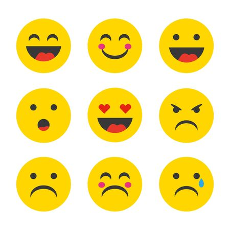 Emoticon. Vector style smile face icons. Emoji