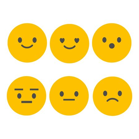 Set of Emoticons. Set of Emoji. Isolated vector illustration on white background.