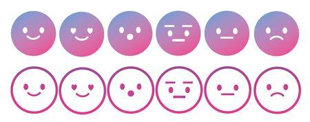 Emoji avatar face vector line icon set 일러스트