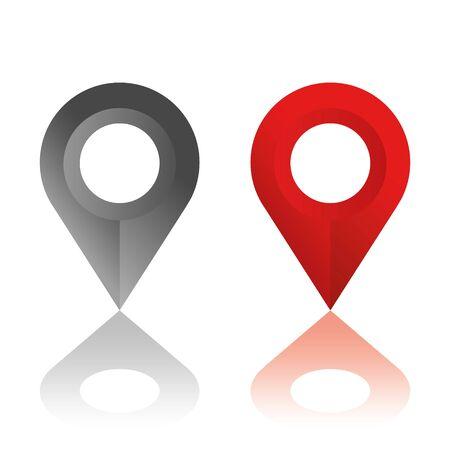 Set di icone di posizione. Indicatori di mappa moderna. Illustrazione vettoriale su sfondo bianco. Vettoriali