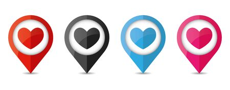Set of map location pointer with hearts icon. Heart icon isolated on white background.