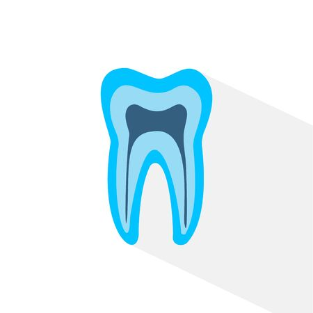 blue tooth. Simple icon with long shadow on a white background. 向量圖像