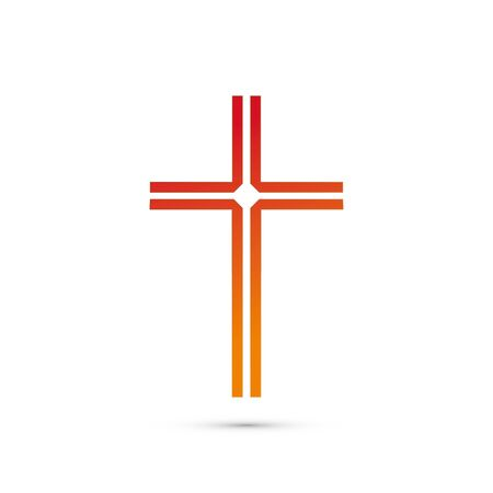 christian cross icon. Abstract line christian cross. Vector illustration
