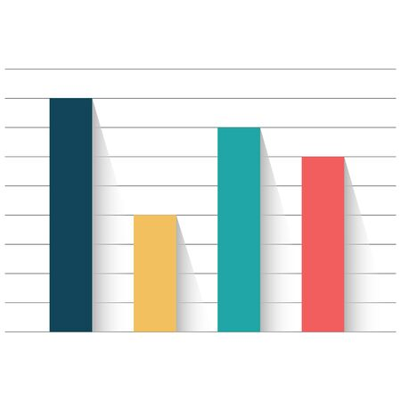 Example of business flat design graph. Infographics color chart.