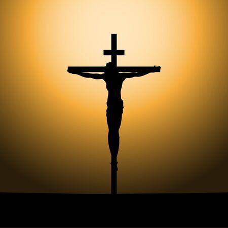 Kreuzigung von Jesus Christus am Kreuz bei Sonnenuntergang. Sonne Rays.Vector Illustration.