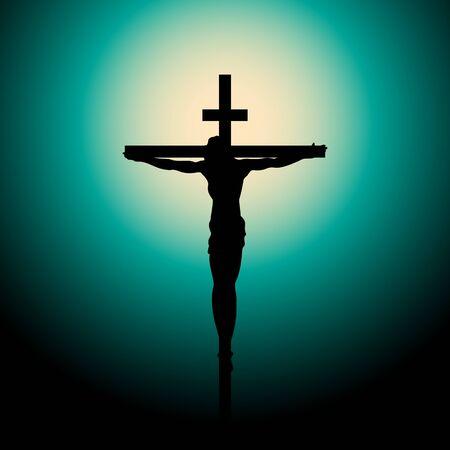 Crucifixion of Jesus Christ on the cross at sunset. Sun Rays.Vector Illustration. Ilustração Vetorial