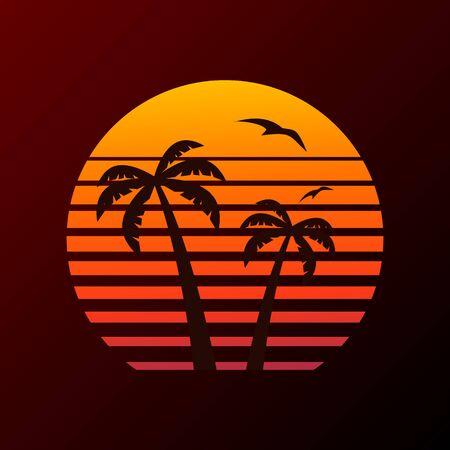 Palme auf Sonnenunterganghintergrund und fliegendem Flugzeug.